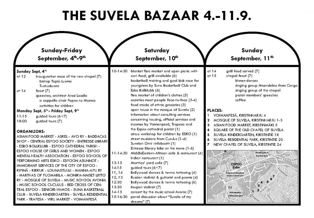 The program of the Suvela Bazaar.