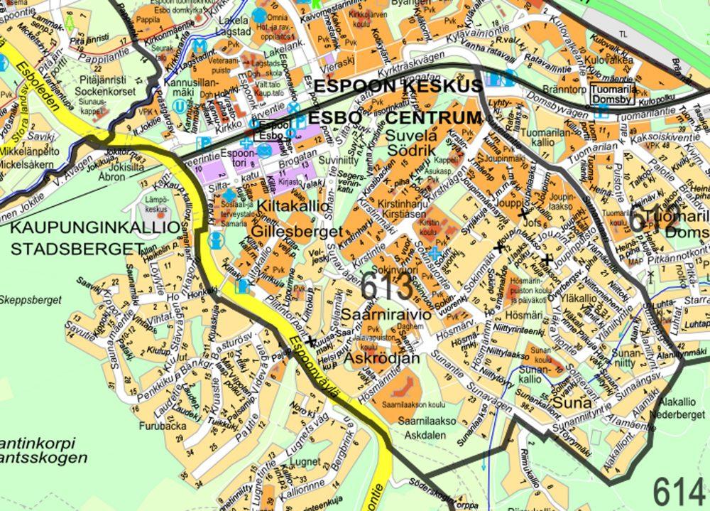 Suvela's location in the metropolitan region of Helsinki.